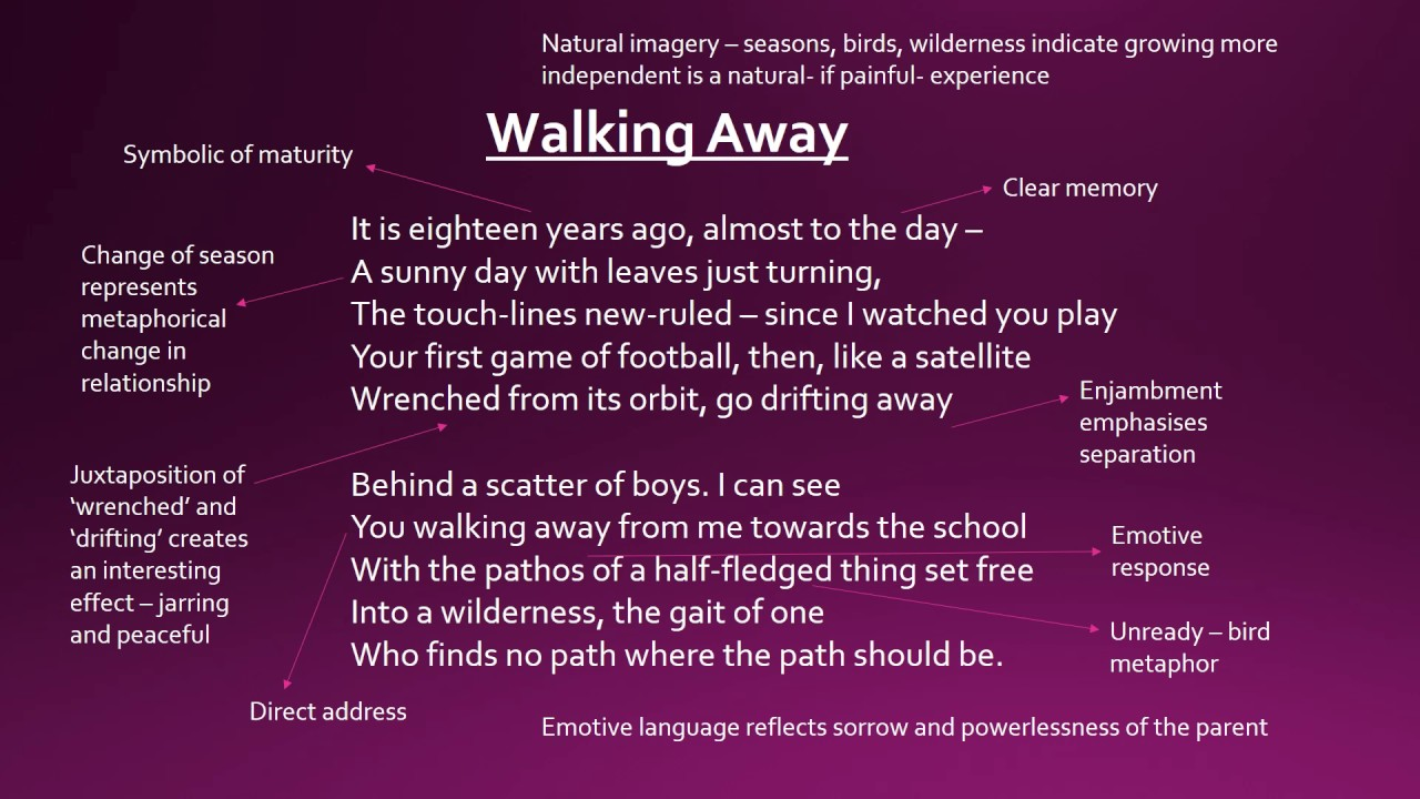 walking away poem essay Essay writing guide learn the art any distance' and three other poems show relationships between parents and children and three other poems show.
