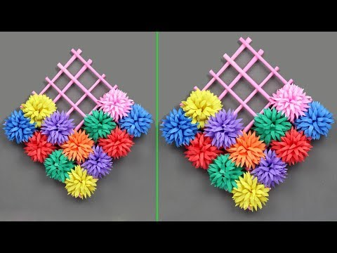 DIY - Amazing and easy Paper flower wall hanging - paper flowers wall hanging / Easy Home decor