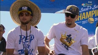 Stephen Curry & Klay Thompson Interview - 2018 Golden State Warriors Championship Parade