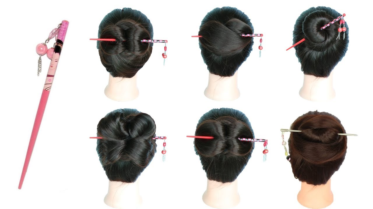 6 easy and amazing juda hairstyle with bun stick ...