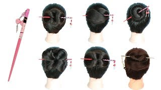 6 easy and amazing juda hairstyle with bun stick || chignon bun || chinese bun || cute hairstyles