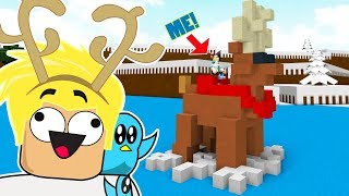 I'M RIDING ON A REINDEER BOAT / BUILD A BOAT TO TREASURE ROBLOX