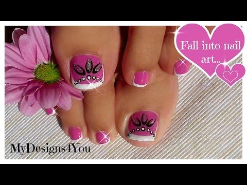 Toenail Art Design   Pink and Silver Beads Pedicure ♥ Diseño de Uñas de Pies