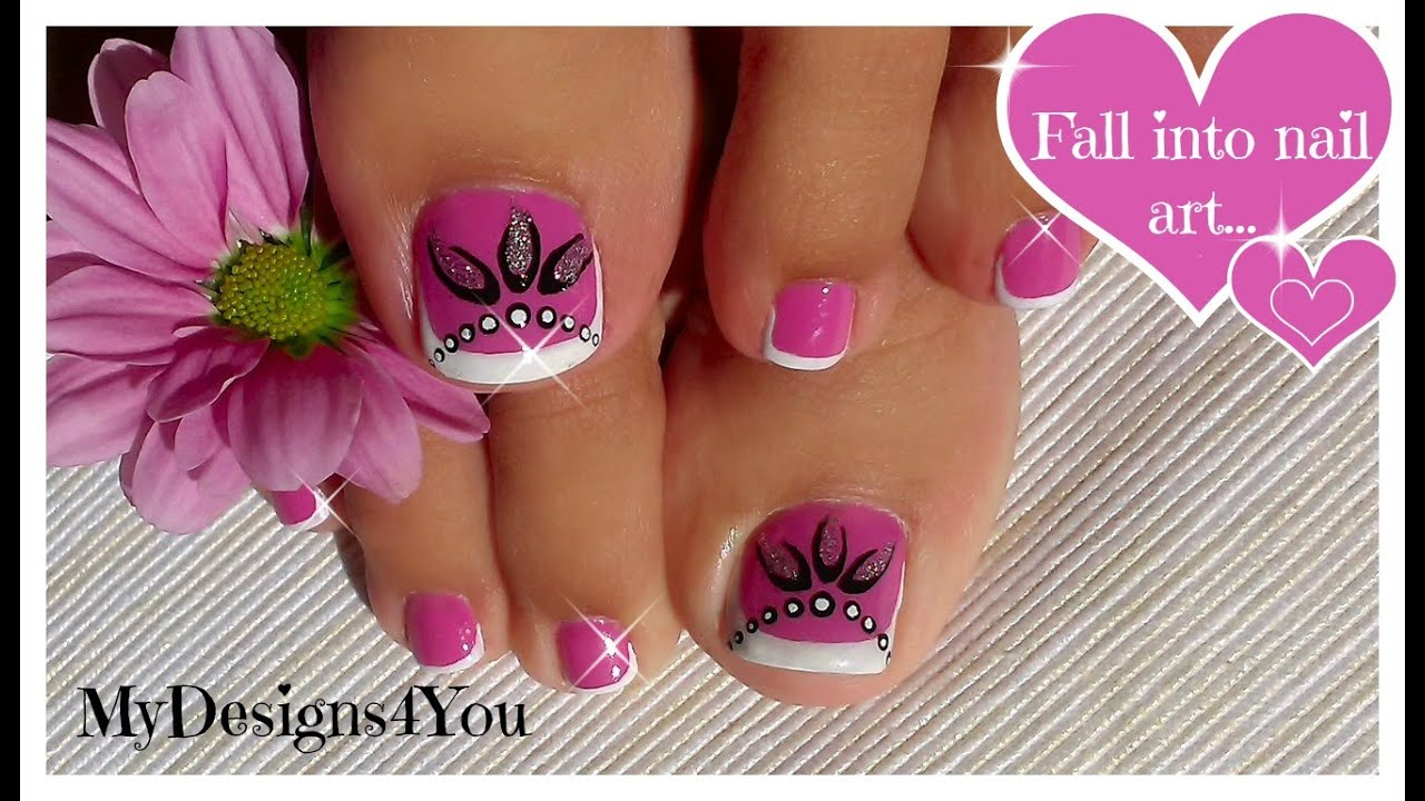 Toenail Art Design | Pink and Silver Beads Pedicure ♥ Diseño de ...