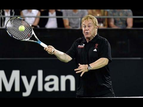 Elton John Enthusiastic Tennis Match Against Martina Navratilova At