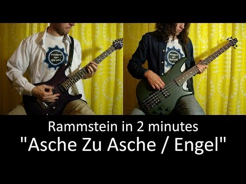 15) Rammstein - Asche Zu Asche / Engel (Guitar & Bass lesson + TAB | Cover HD)