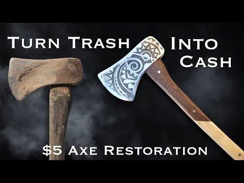 $5 Flea Market Rusty Axe Restoration. Woodworking & Metalworking.