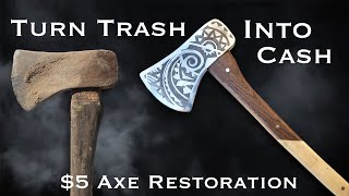 $5 Flea Market Rusty Axe Restoration. Woodworking & Metalworking.