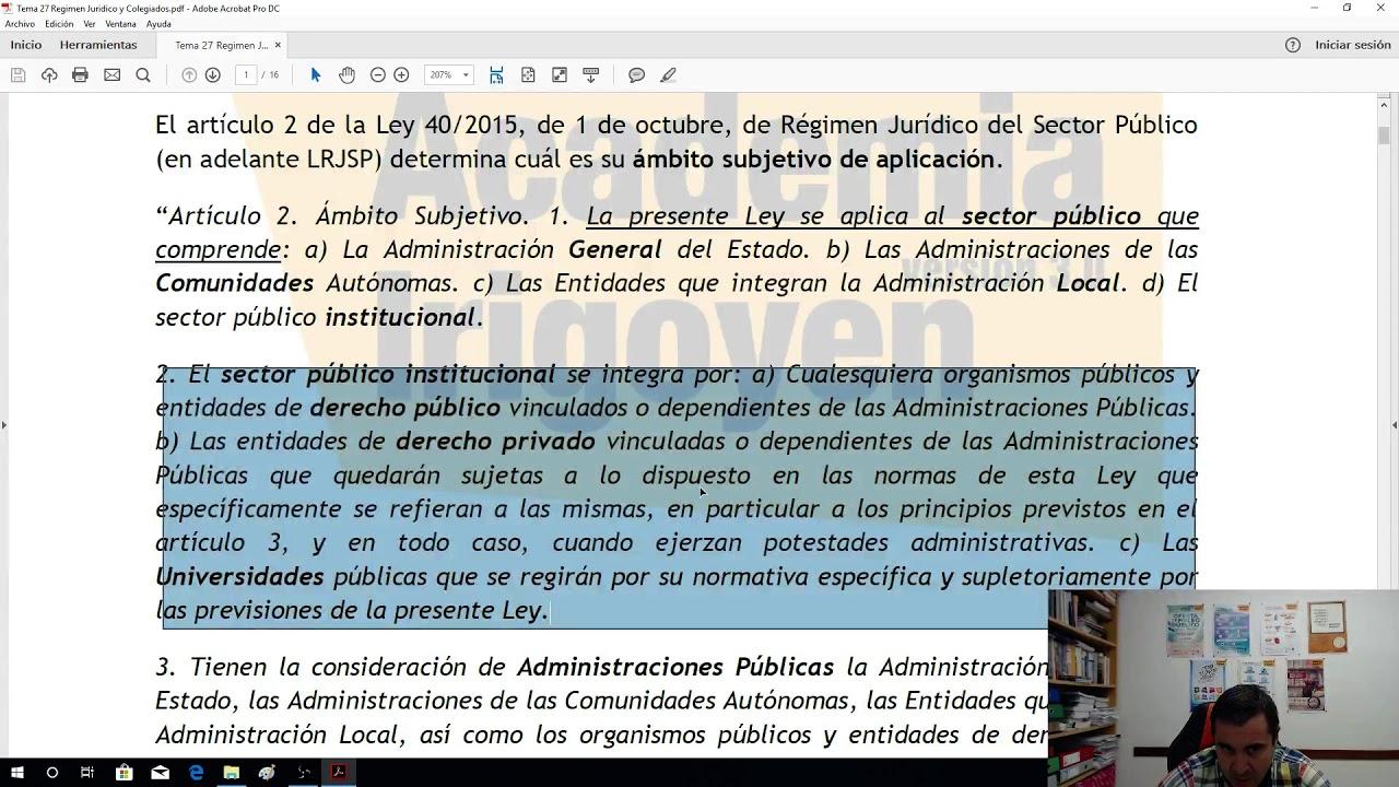 El Régimen Jurídico Del Sector Público Parte I Youtube