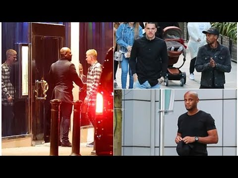 Manchester City stars enjoy a night out in the city centre