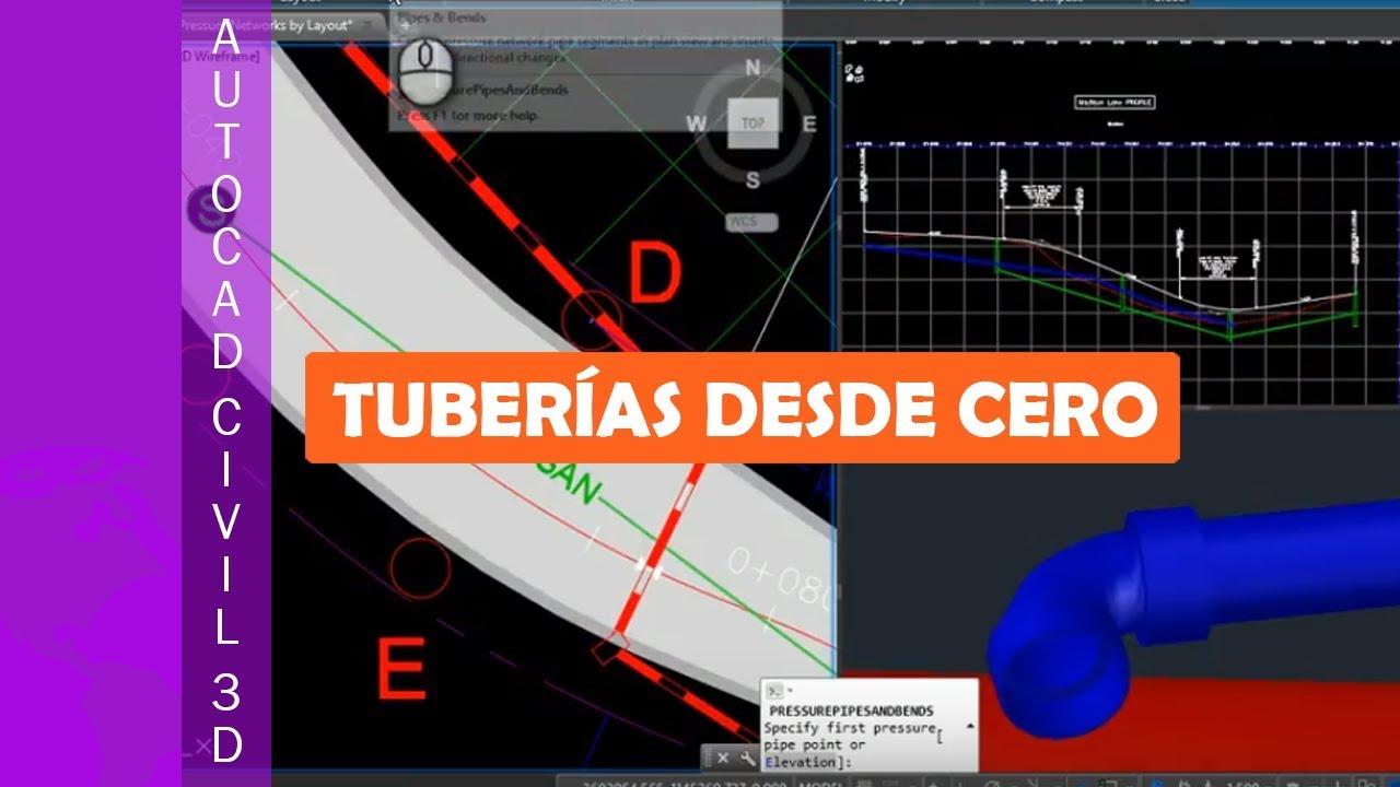 AutoCAD Civil 3D - 15.02 Crear una red de tuberias a presion con ...