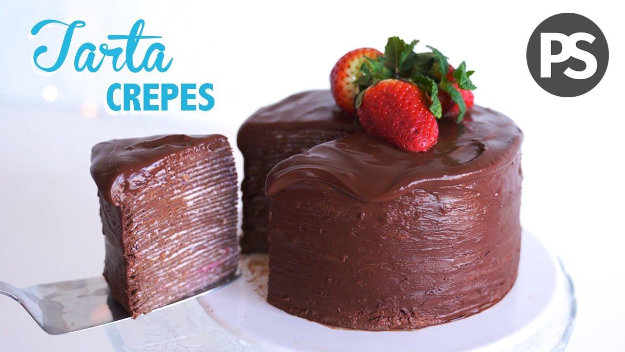 Tarta De Crepes Chocolate Fácil Ligera Y Saludable Youtube