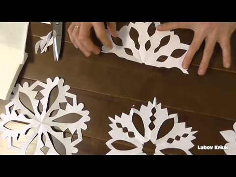 Новогодняя снежинка из бумаги своими руками  Гирлянда из снежинок