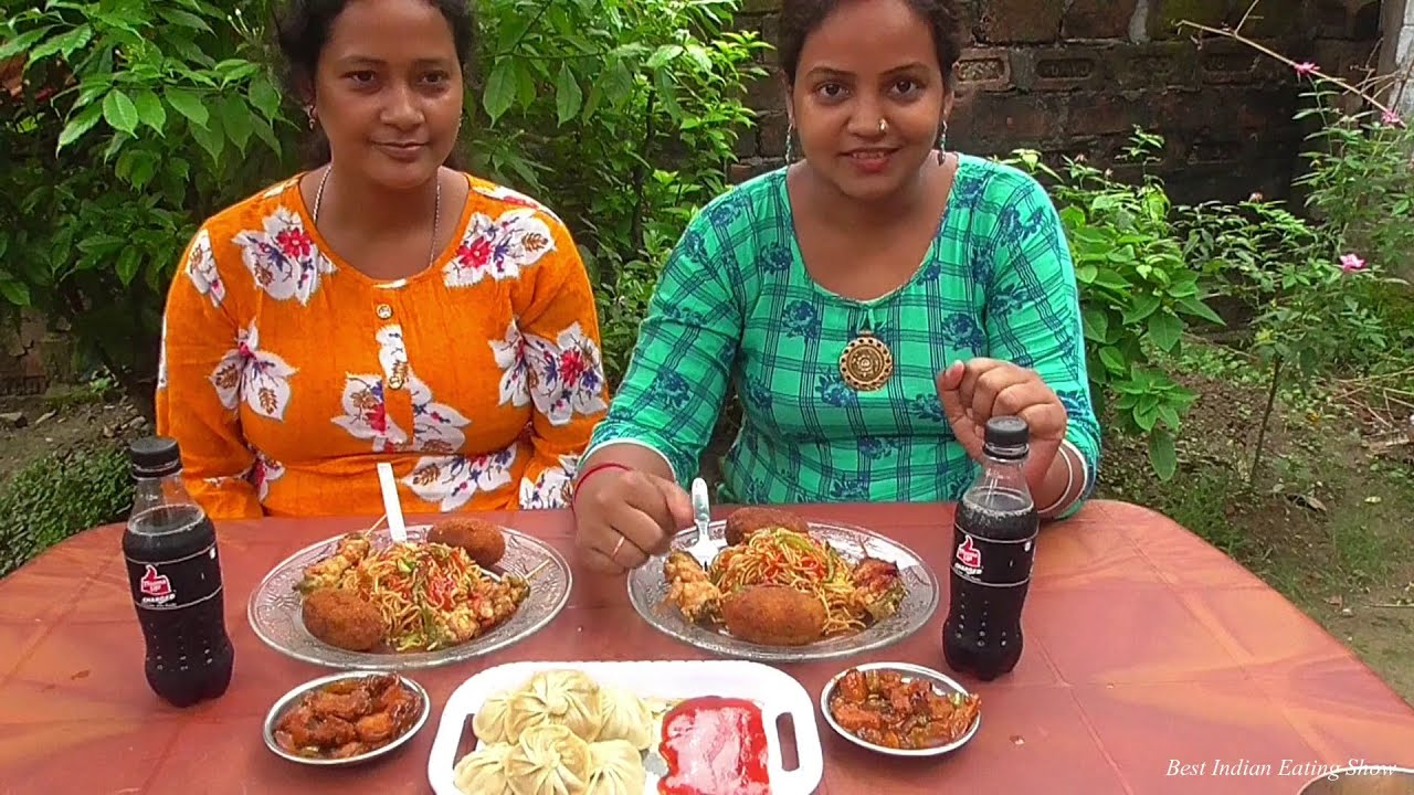 Eating Challenge with Sister-in-Law | Chicken Momo - Chowmein - Chicken Satay - Egg Devil