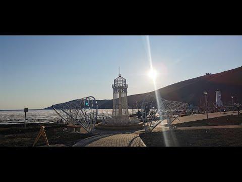 Парк Маяк в Нагаевской бухте в Магадане в мае 2020. Современный Магадан