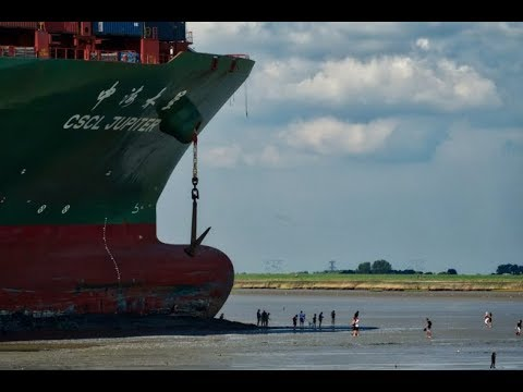 Genscape Vesseltracker - Refloating of Ultra Large Container vessel - CSCL Jupiter