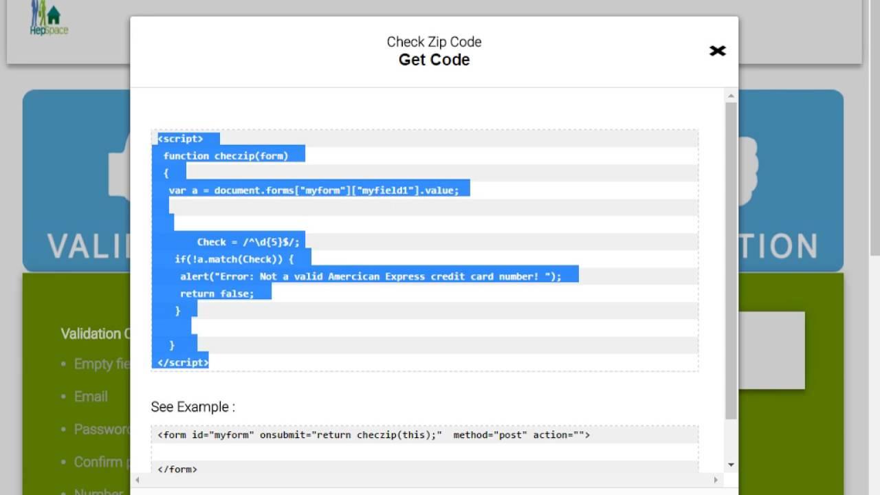 Zip Code Validation Using Javascript YouTube - Us zip code format validation javascript