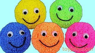Learn Colors Play Foam Surprise Eggs Smiley Candy Play Doh Ice Cream Cups Kinder Joy Nursery Rhymes
