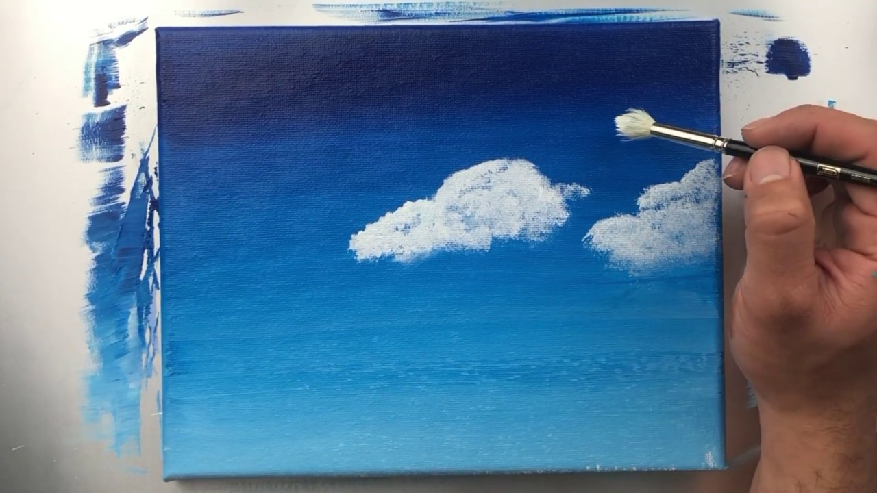 Best Type Of Drawing Clouds With Acrylic Paint Acrylic Painting Ideas For Beginners On Canvas Youtube