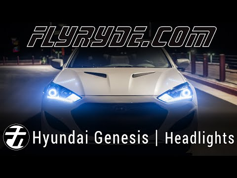 2013 Genesis Coupe Headlights with Switchback DRL, Angel Eyes, and Bulbs with Clear Reflectors