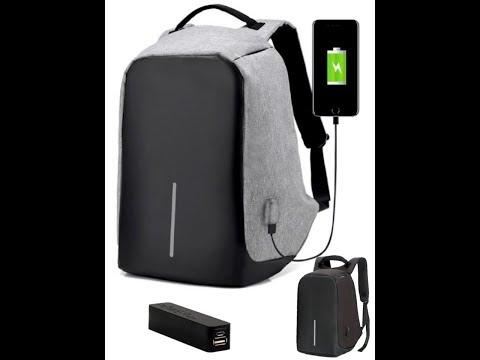 MOCHILA BACKPACK POWER BANK ANTI THEFT USB BAG
