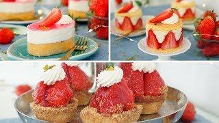 Erdbeer Törtchen 3 Versionen - Kleine Erdbeer Desserts in 3 Varianten - Kuchenfee