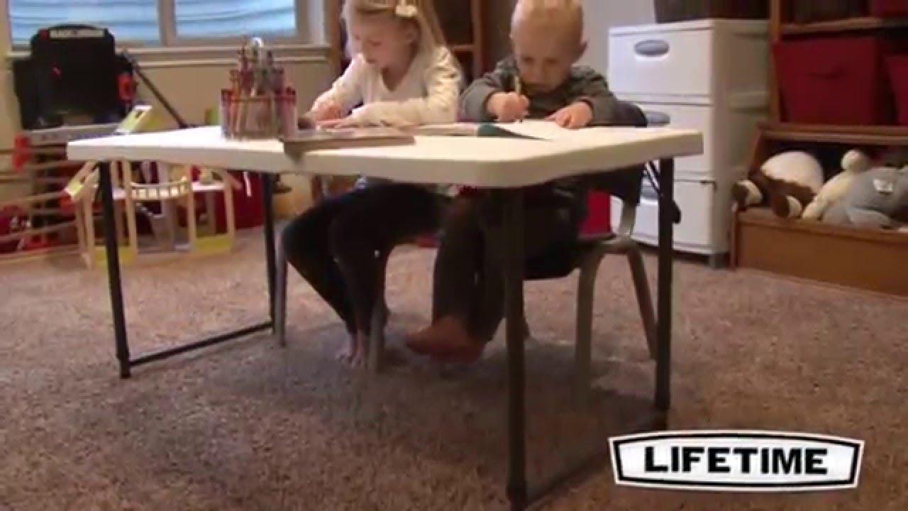 Etonnant Lifetime 4 Ft. Adjustable Height Fold In Half Table   White (4428)
