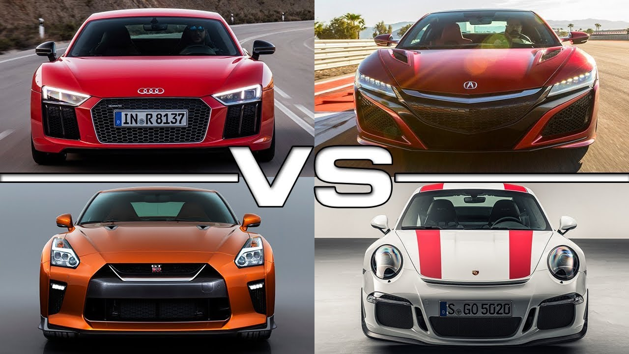 audi r8 v10 plus vs acura nsx vs nissan gt r vs porsche 911 r youtube. Black Bedroom Furniture Sets. Home Design Ideas