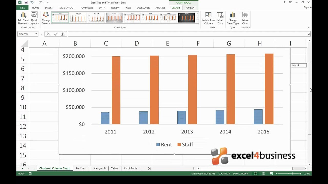How to Create a Clustered Column Chart in Excel 2013 - YouTube