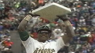 Rickey Henderson sets all-time stolen base record