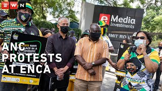 ANC members staged a picket outside eNCA's Hyde Park offices on 2 March 2021 as part of a campaign against racism. The national protest followed viral videos showing an eNCA reporter asking only black Members of Parliament to keep their masks on during interviews.  #Racism #eNCA #ANC