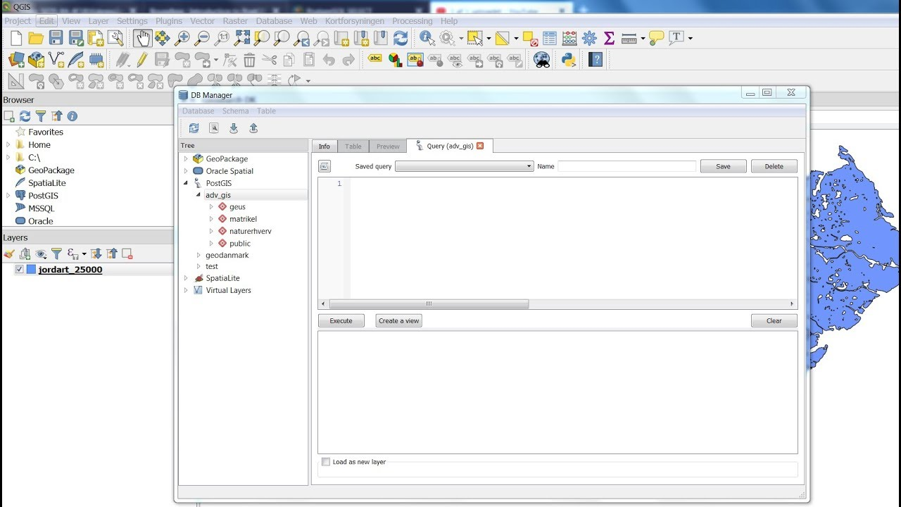 QGIS 3 DB Manager Simple Select SQL