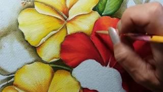 Hibiscos vermelho – Parte 3 – Pintura em tecido