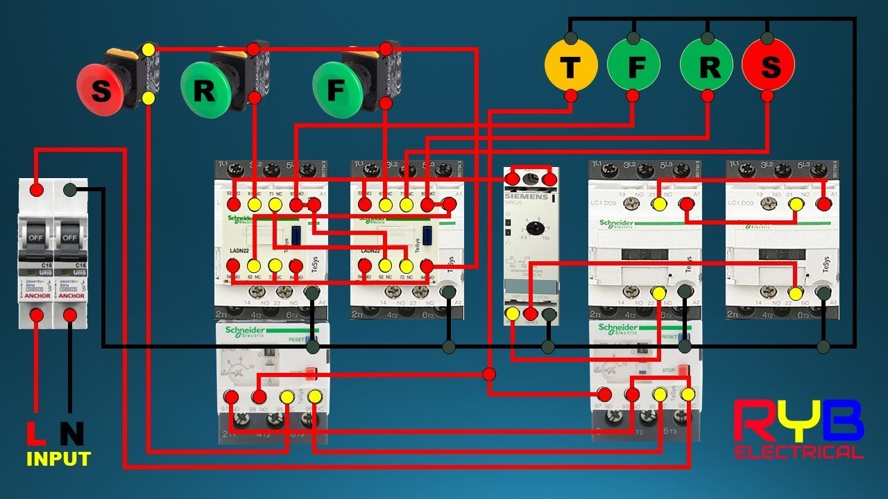 forward reverse star delta starter control wiring connection diagram diagram for the control ofthe reversing contactor circuit with star [ 1280 x 720 Pixel ]