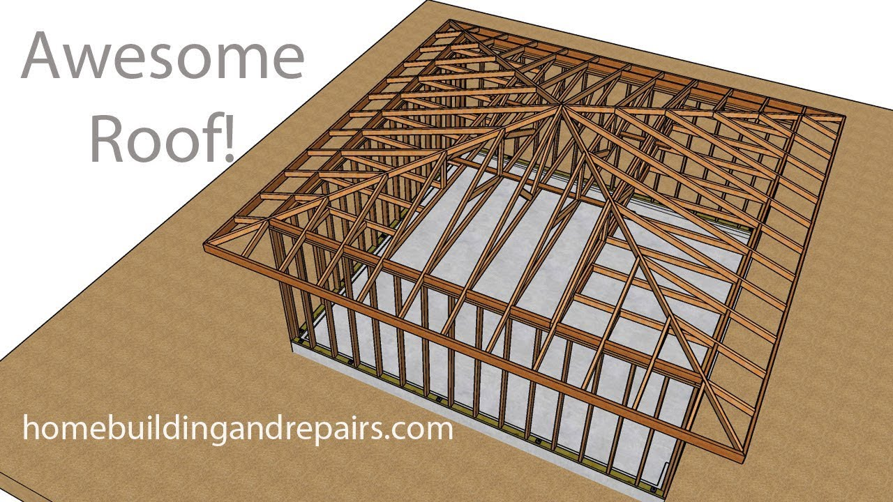 Engineered Hip Roof Truss System For Two Car Garage Framing Ideas Youtube
