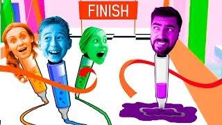 3 Маркера Челлендж - Дети против Родителей в мульт игре Run Pen