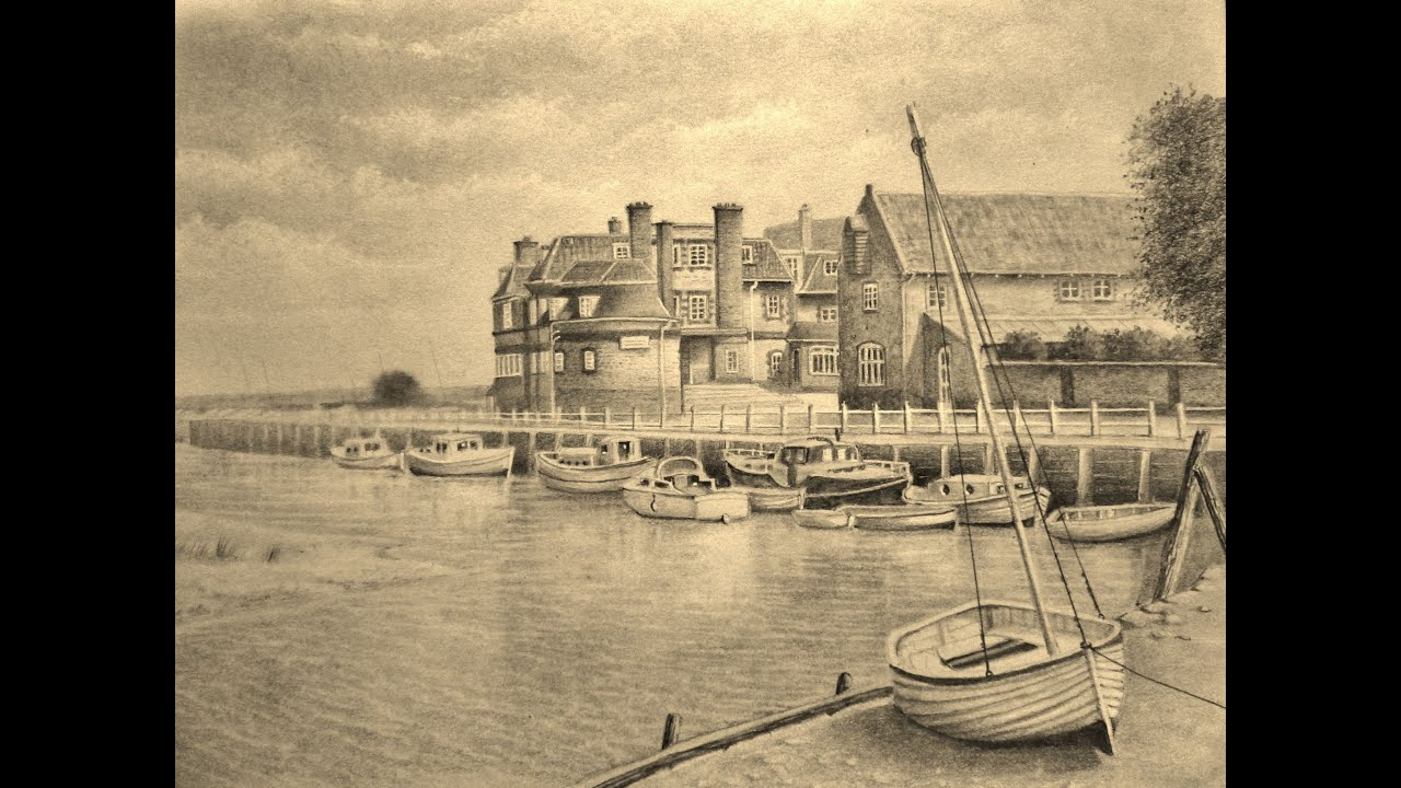 Landscape Graphite pencil drawing of Blakeney Norfolk - YouTube