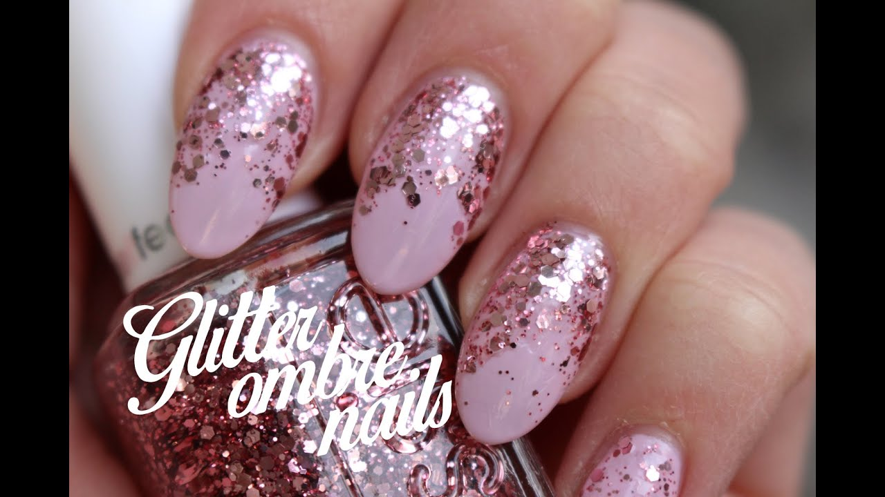 PINK GLITTER OMBRE NAILS - YouTube