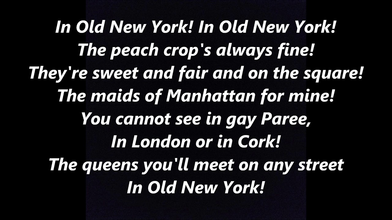 the streets of new york in old new york lyrics words