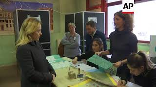 Right Wing Party Brothers Of Italy Leader Votes In Elections