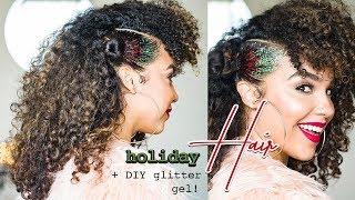 Holiday Curly Hair Tutorial with DIY GLITTER GEL
