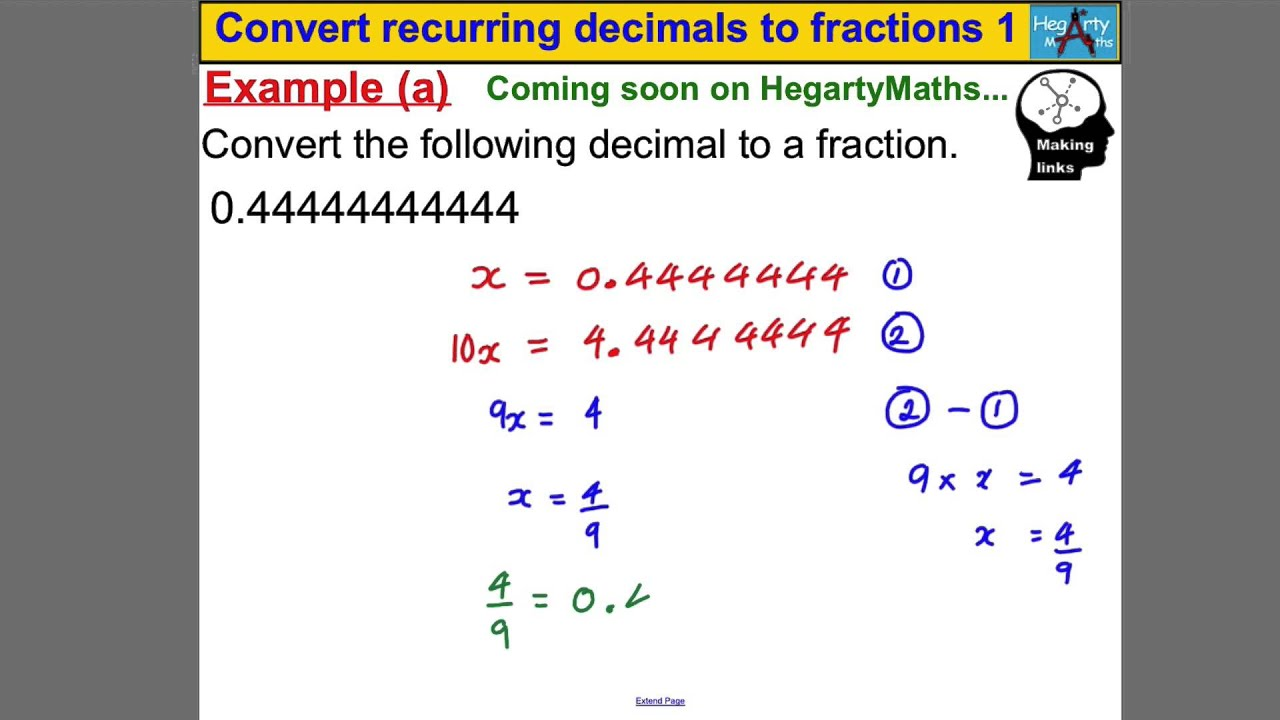 Convert Recurring Decimals To Fractions 1 Youtube