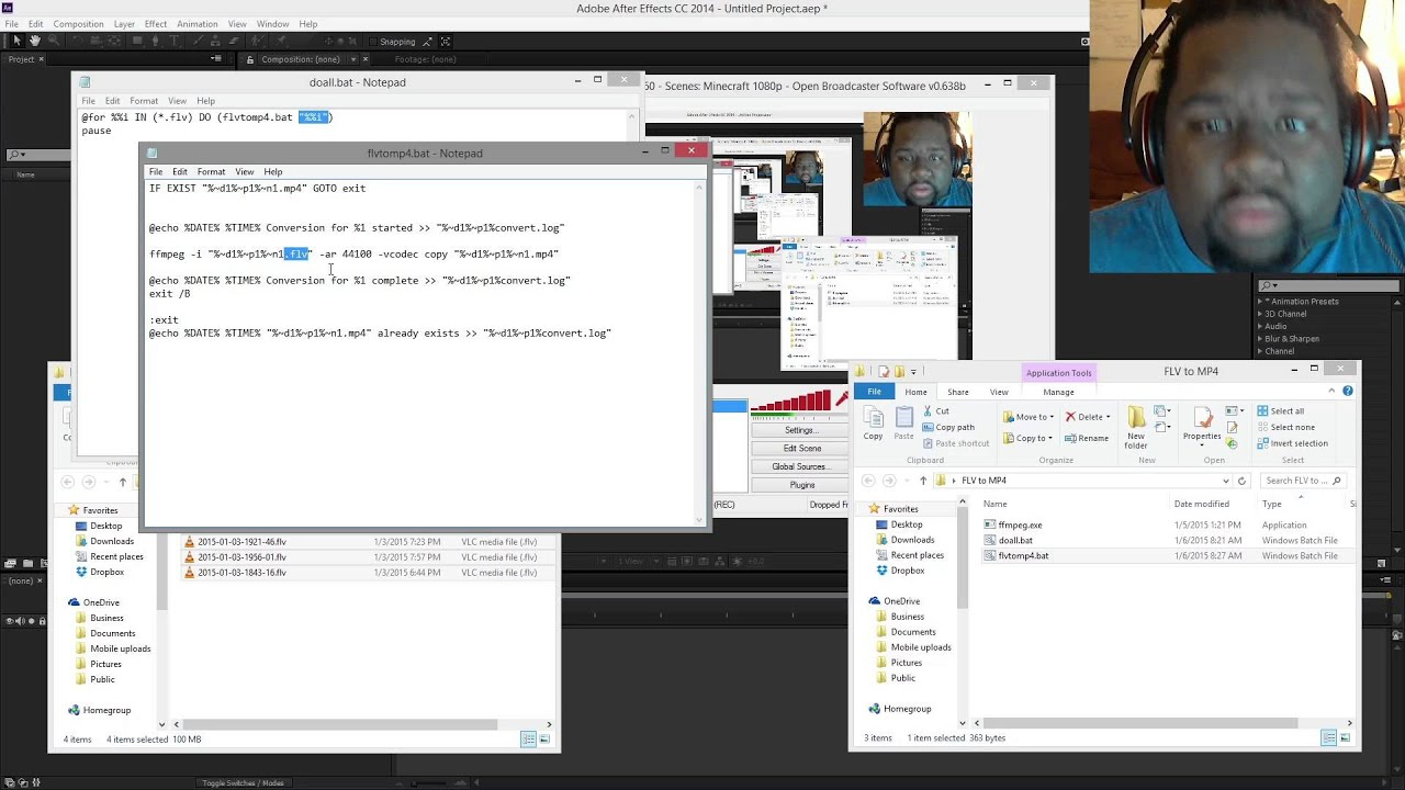 how to change obs flv to mp4