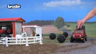 Historieta sobre Bruder Jeep - Land Rover. Jeep en el video escuela Granja para niños