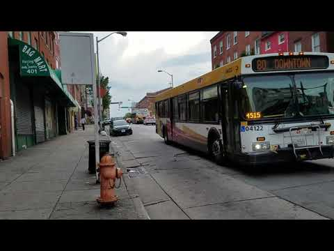 MTA MARYLAND:2004 New Flyer D40LF #04122 On The LL 80@Saratoga & Eutaw Streets 8/31/2017