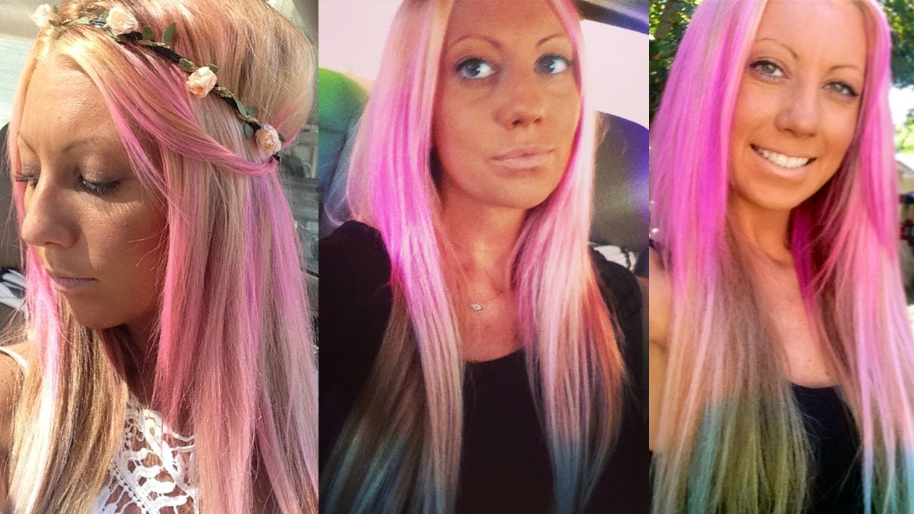 DIY Unicorn Hair - Pastel Pink and Blue Ombre Dyed - YouTube