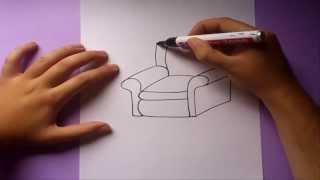 Como dibujar un sofa paso a paso | How to draw a sofa