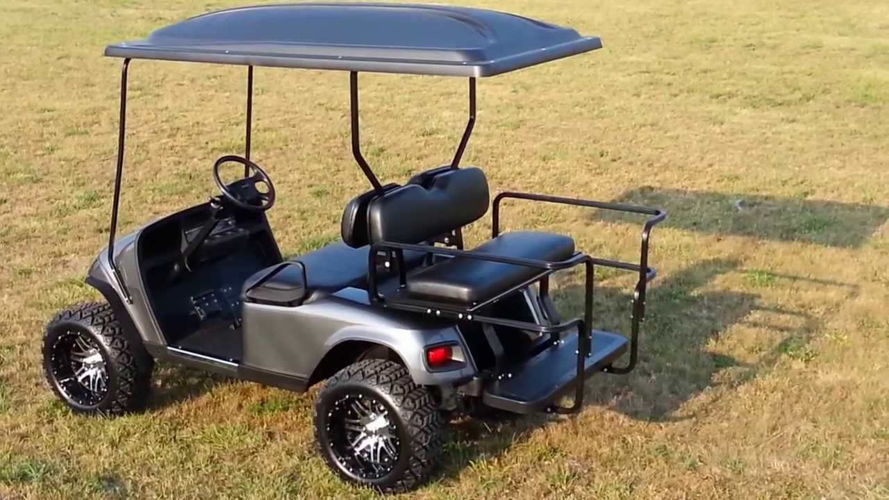 Gas Custom Lifted Charcoal Metallic Golf Cart With Turn
