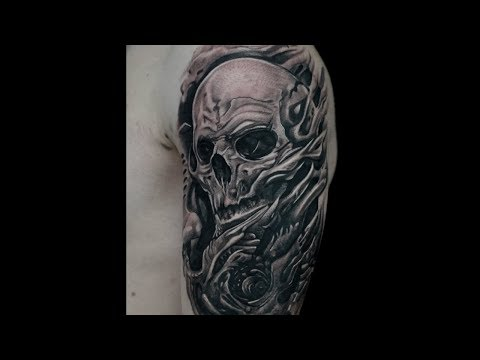 horror skull tattoo black and grey time lapse