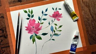 Simple flower painting with watercolor | Easy and quick painting